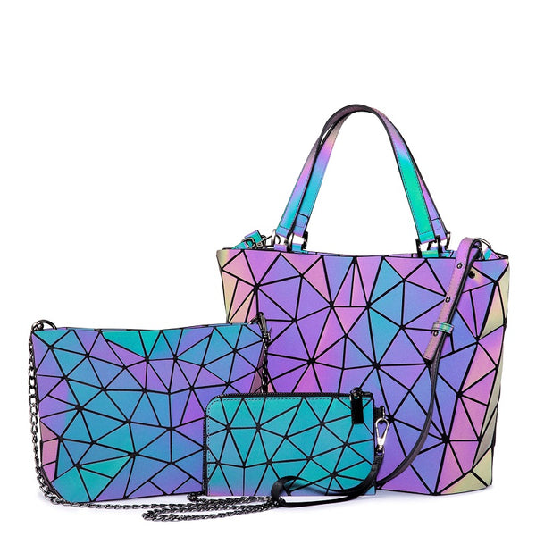 3 pcs geometric Luminous Handbag Purse Crossbody Bags Set