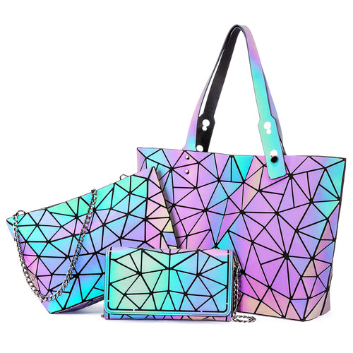 LOVEVOOK 3 PCS set Geometric Luminous Tote Handbags Crossbody Bag Wallet
