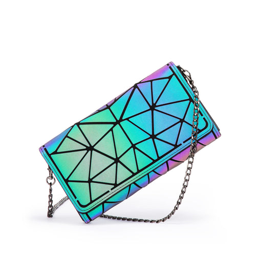 LOVEVOOK Holographic Reflective Crossbody Bag Clutch Wallet Purses with Chain Sling Geometric Luminous