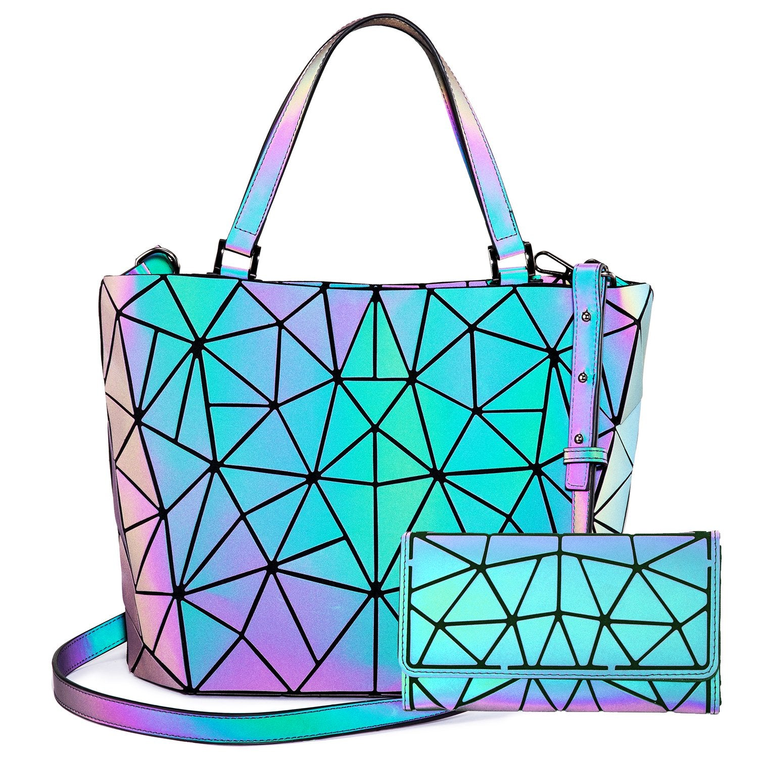 LOVEVOOK Geometric Luminous Holographic Reflective Bags Set