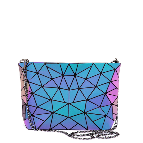 LOVEVOOK Geometric Luminous Holographic Crossbody Bag Purse with Chain Sling