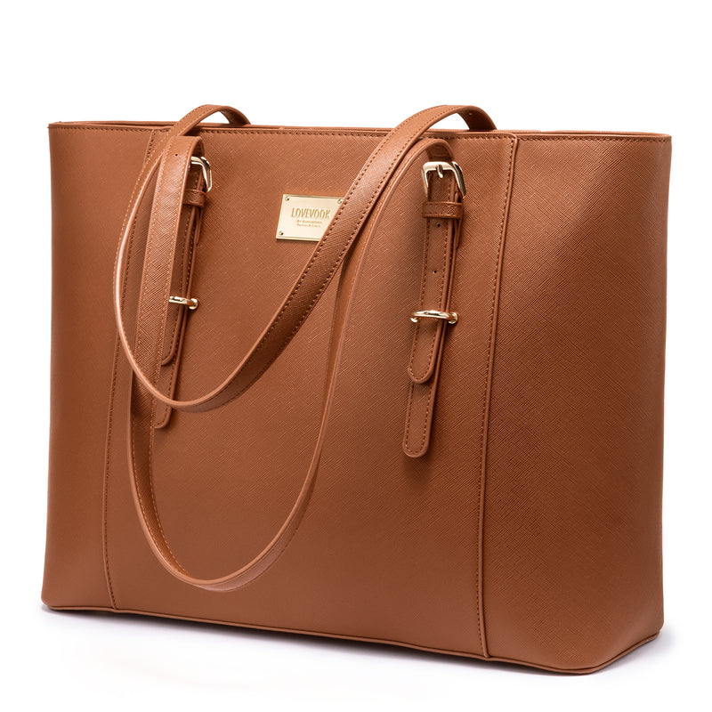 LOVEVOOK Laptop Bag for Women, Structured Leather Computer Bag, Professional Work Tote Purse, Teacher/Attorney's Choice