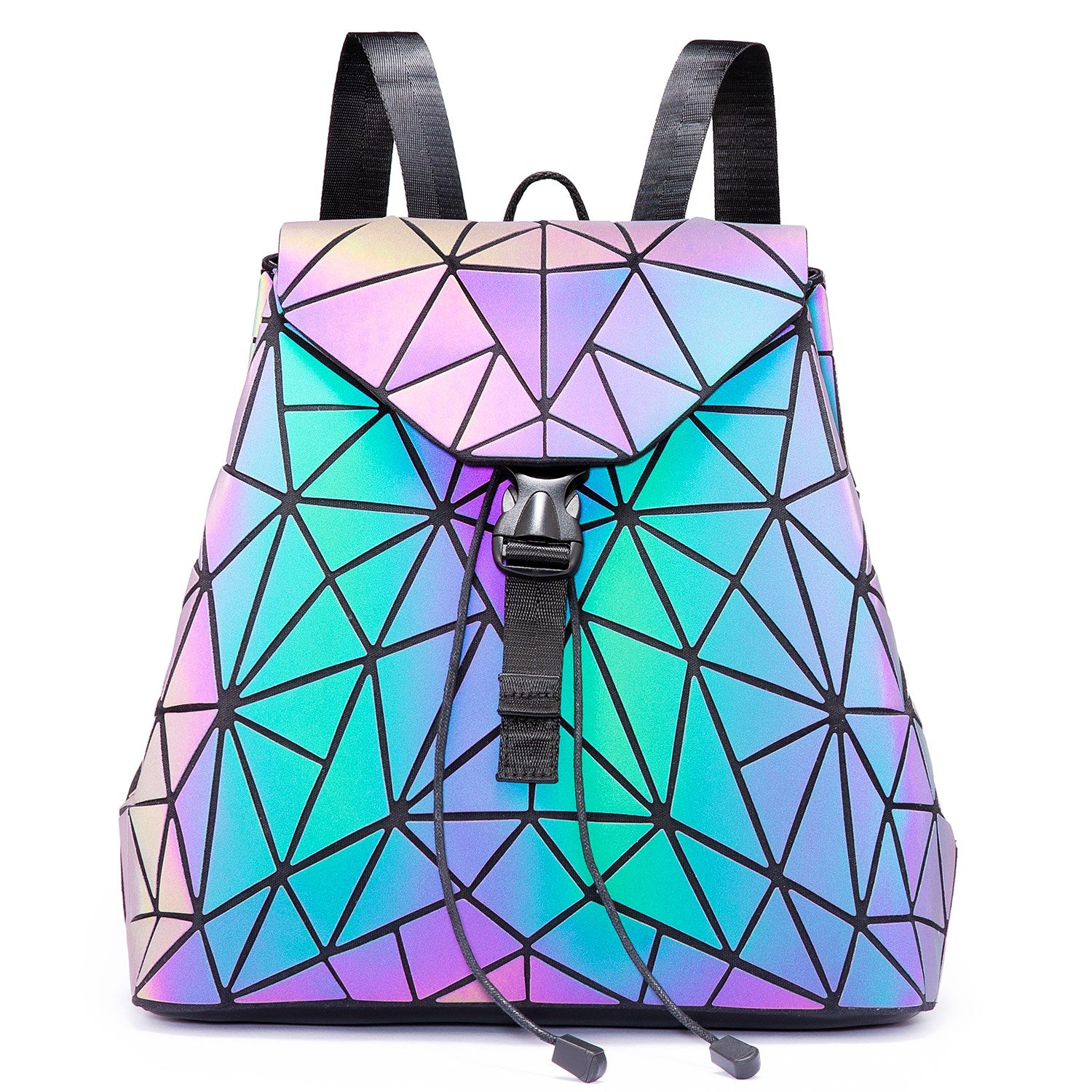 LOVEVOOK Geometric Luminous Holographic Reflective Backpack