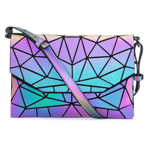 LOVEVOOK Geometric Luminous Holographic Reflective Crossbody Messenger Bag