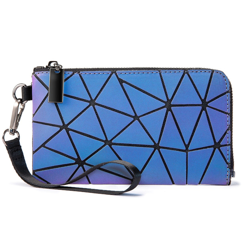 LOVEVOOK Geometric Holographic Luminous Wallet Purse Clutch Small Bag