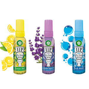 Air Wick V.I.P. Pre-Poop Spray, Lemon Idol, Lavender Superstar & Fresh Model