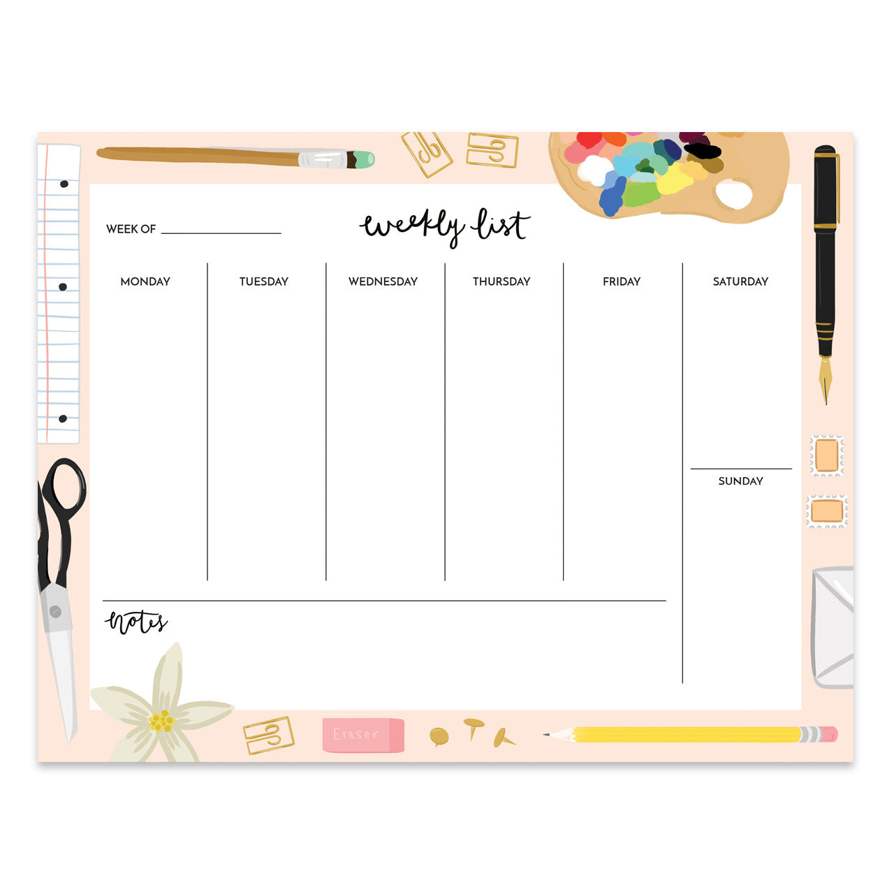 Bloomwolf Studio - Pink Stationery Weekly Planner Desk Pad