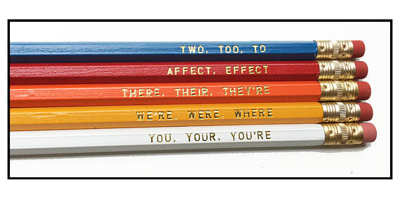Fly Paper Products - Set of 5 Grammar Pencils