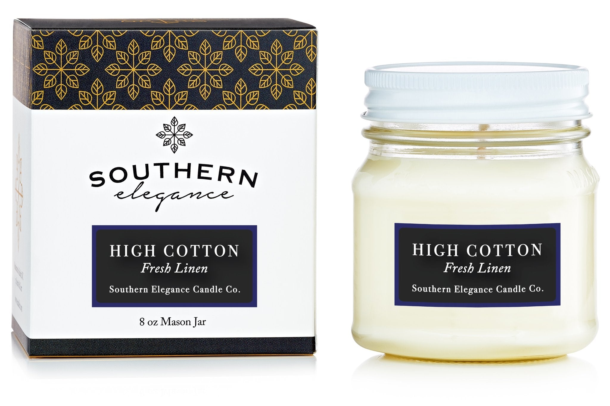 Southern Elegance Candle Co. - Mason: High Cotton (Fresh Linen)