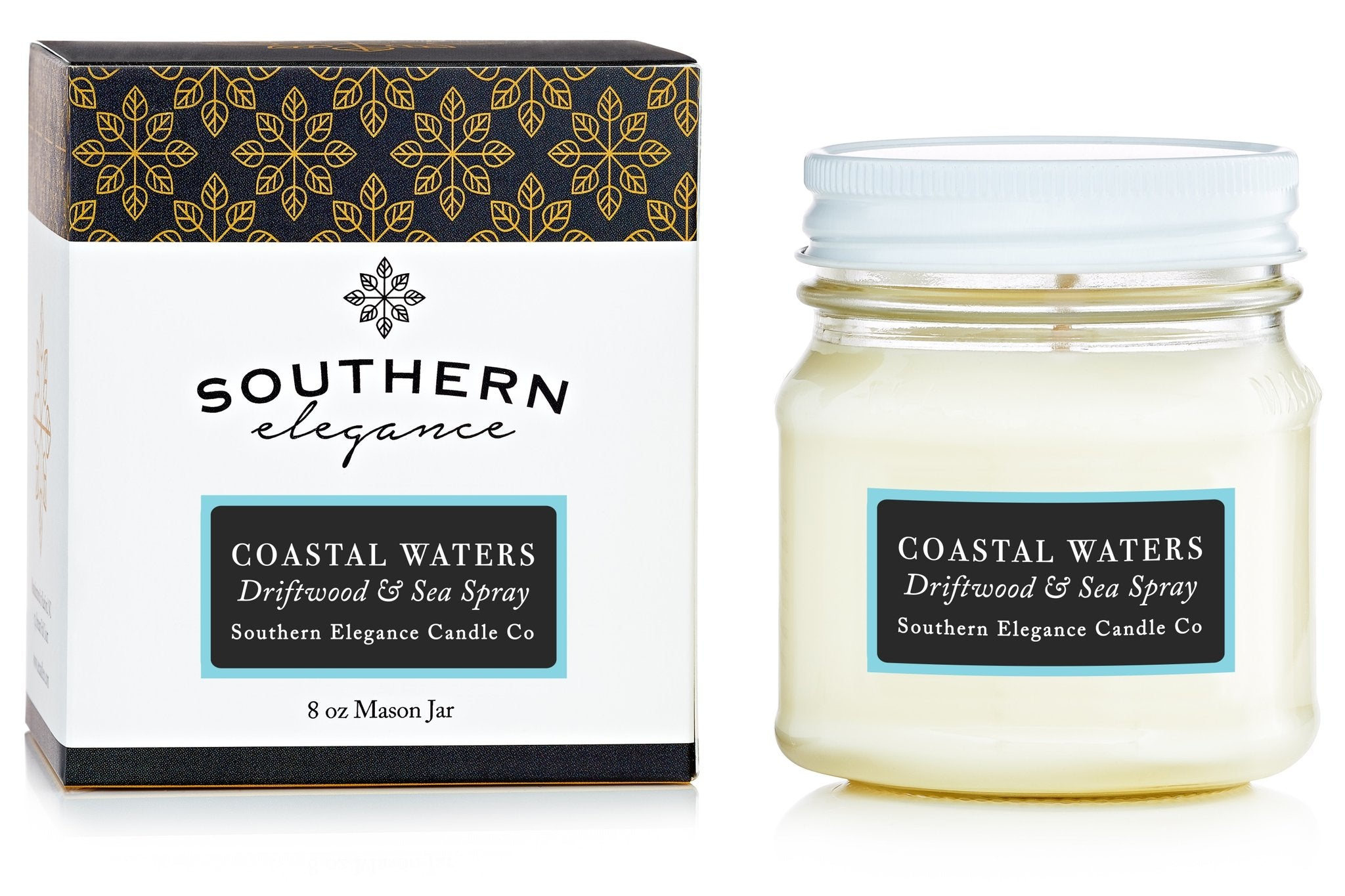 Southern Elegance Candle Co. - Coastal Waters: Driftwood & Sea Spray (Mason)