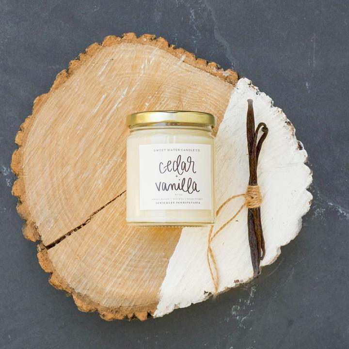 Sweet Water Candle Co. - Cedar and Vanilla Soy Candle 9oz