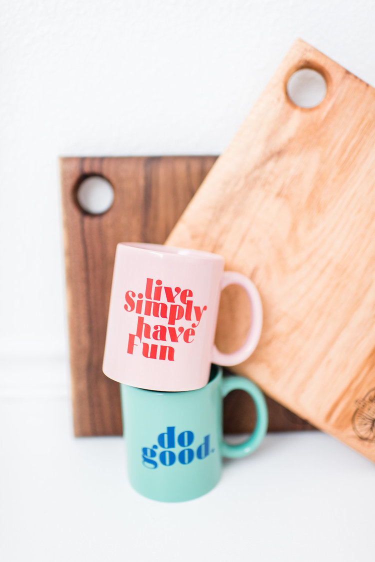 Ramble and Company - Live Simply Have Fun | Pink Coffee Mug