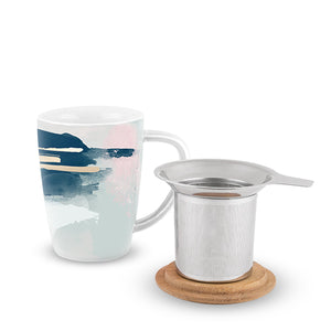 Pinky Up - Bailey Blue Pink Abstract Ceramic Tea Mug & Infuser