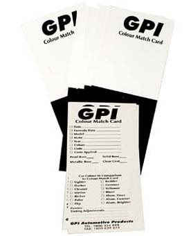 COLOUR MATCHING CARDS GPI (PKT 200) - Colourfast Auto