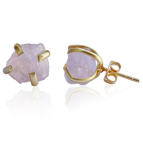 RAW NATURAL STONE STUD EARRINGS - AMETHYST / ROSE QUARTZ / AQUAMARINE / SMOKY QUARTZ / CITRINE / GARNET / FLUORITE