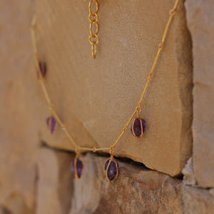 AMETHYST WIRE WRAPPED NECKLACE 18K GOLD PLATED