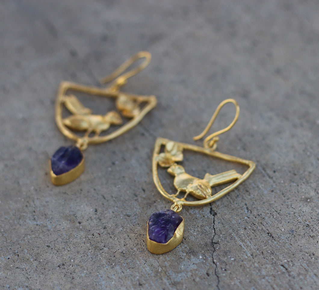 BIRD SWING AMETHYST 18K GOLD PLATED EARRINGS