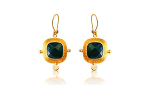 MEMO HANCRAFTED HOOK EARRINGS TURQUOISE / GREEN ONYX / GARNET / BLACK ONYX