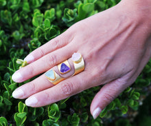 THREEFOLD CUFF 18K GOLD PLATED ADJUSTABLE RING - AMETHYST / CITRINE / AQUAMARINE / CLEAR QUARTZ