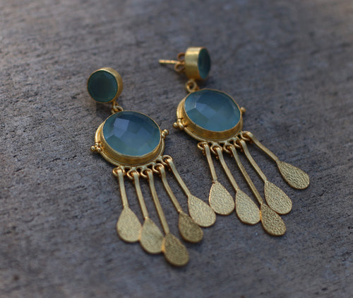 EGYPTIAN DANGLES AQUAMARINE 18K GOLD PLATED EARRINGS