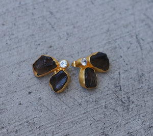 FLY ZIRCON SMOKY QUARTZ 18K GOLD PLATED EARRINGS