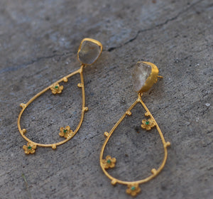 FLORAL WIRE DROP SHAPE CITRINE 18K GOLD PLATED EARRINGS