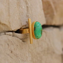 GREEN TURQUOISE ADJUSTABLE RING 18K GOLD PLATED