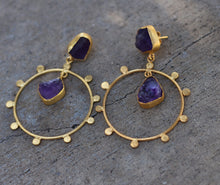 ANGEL HALO BI-STONE 18K GOLD PLATED EARRINGS