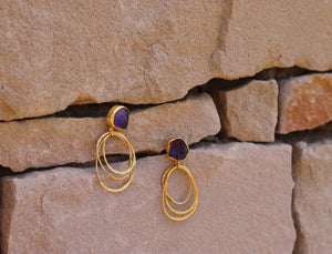 WIRE HOOP NATURAL STONE 18K GOLD PLATED EARRINGS AMETHYST / ROSE QUARTZ / CLEAR QUARTZ / CITRINE