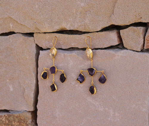 CROSS NATURAL STONE 18K GOLD PLATED EARRINGS CITRINE & AMETHYST / GARNET &  CITRINE