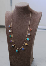 EGYPTIAN LONG NECK CHAIN / 18K GOLD PLATED / TURQUOISE / ROSE QUARTZ / PERAL / GARNET