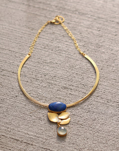 TREBLE NATURAL STONE ADJUSTABLE CHOKER / 18K GOLS PLATED / TURQUOISE / LABRADORITE / MOTHER OF PEARL / LAPIS LAZULI