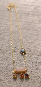 SWAY LONG NECK CHAIN / 18K GOLD PLATED / GREEN KYANITE / ROSE QUARTZ