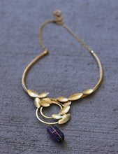 COIL LEAF CHOKER / 18K GOLD PLATED / GREEN KYANITE / CITRINE / AMETHYST / TURQUOISE / ROSE QUARTZ