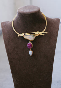 BRANCH LEAF ADJUSTABLE CHOKER / 18K GOLD PLATED / ROSE QUARTZ / DRUZY STONES