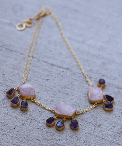 CLUSTER 18K GOLD PLATED NECKLACE / GREEN KYANITE / ROSE QUARTZ / AMETHYST