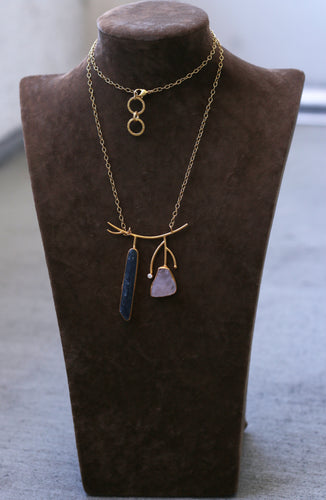 SPIKE SLATE ZIRCON LONG NECKLACE / 18K GOLD PLATED / ROSE QUARTZ / AMETHYST