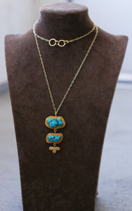 BUNDLE NECK LONG CHAIN NECKLACE 18K GOLD PLATED / TURQUOISE / VIOLET / BLUE / PINK