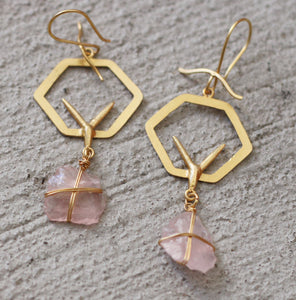 TIET - EGYPTIAN INSPIRED 18K GOLD PLATED EARRINGS ROSE QUARTZ / CLEAR QUARTZ / SMOKY QUARTZ