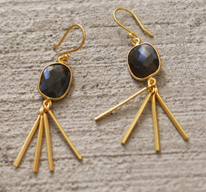 SLING 18K GOLD PLATED EARRINGS / LABRADORITE / BLACK ONYX