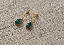 STRING DROP EARRINGS 18K GOLD PLATED / AQUAMARINE / BLACK ONYX / GREEN ONYX / TURQUOISE