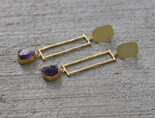 CLEOPATRA 18k GOLD PLATED EARRINGS / AMETHYST / CITRINE / ROSE QUARTZ