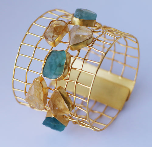 CAGE CUFF WITH NATURAL STONES / 18K GOLD PLATED / ROSE QUARTZ / AMETHYST / CITRINE / AQUAMARINE
