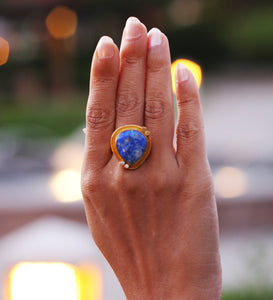 THREE POINT 18K GOLD PLATED ADJUSTABLE RING LAPIS LAZULI / TURQUOISE