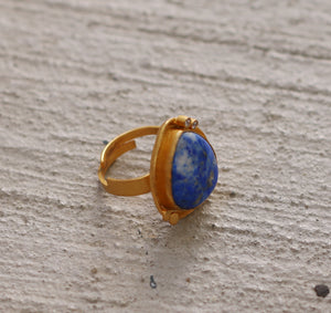 THREE POINTER 18K GOLD PLATED ADJUSTABLE RING LAPIS LAZULI / TURQUOISE
