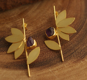 LOTUS STEM HANDCRAFTED 18K GOLD PLATED EARRINGS AMETHYST/ CITRINE / AQUAMARINE / FLUORITE