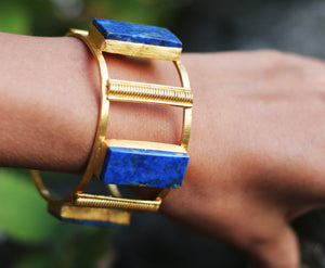 LAPIS LAZULI ADJUSTABLE CUFF 18K GOLD PLATED
