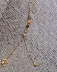 MULTI STONE - AMETHYST / CITRINE / ROSE QUARTZ / ADJUSTABLE 18K GOLD PLATED HAND CHAIN / HAND ARREST
