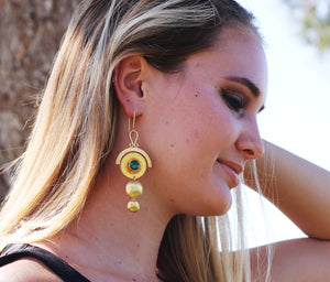 SUNKISSED HANDCRAFTED HOOK EARRINGS GREEN PONYX/ BLACK ONYX / TURQUOISE