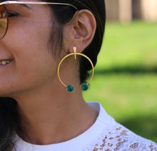 TRIBAL FOLK EARRINGS 18K GOLD PLATED EARRINGS TURQUOISE / AQUAMARINE / MOTHER OF PEARL / GREEN ONYX / LABRADORITE